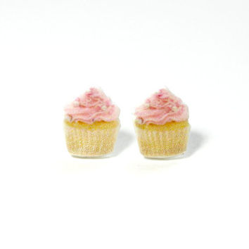 Pink Cupcake Earrings, Kawaii earrings, Cute Pink Cupcakes Stud Earrings