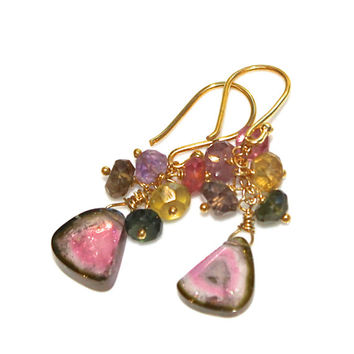 Watermelon Tourmaline Slice Earrings Pastel Tourmaline Earrings Tourmaline Jewelry Gemstone Earrings Rainbow Tourmaline Bright Jewelry