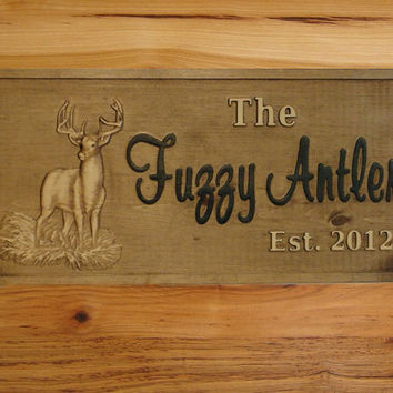 Personalized CARVED Custom wooden sign Cabin by michaelswoodworks