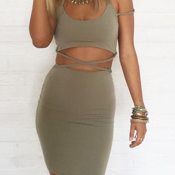 Army Green Strappy Cross Back Cuotut Mini Bodycon Dress