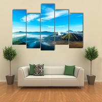 The Active Volcano Of Mount Bromo With Fog Multi Panel Canvas Wall Art
