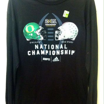 DCCKG8Q NCAA Ohio State Buckeyes VS Oregon Ducks Black Adidas Long Sleeve Shirt