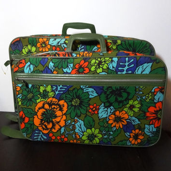 Vintage Mod Retro Set of 2 Floral Canvas Suitcases 1 Medium And 1 Small - Photography Props
