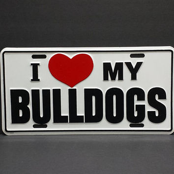 I Love My Bulldogs Vanity License Plate Novelty Heart Vintage Retro Metal Wall Sign Decor Hanging Gifts For Pet Dog Lovers