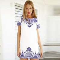 Porcelain Print Short Sleeve A-Line Mini Dress