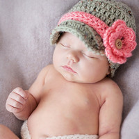 Newborn Baby Girl Infant Newsboy Flower Hat/ by Sebastianseven