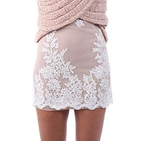Woman Floral Embroidery Mesh Mini Skirt Pencil Skirt