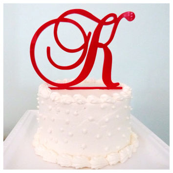 Monogram Wedding Cake Topper - Bridal Shower Cake Topper - Single Initial Monogram - Classic Fancy Script