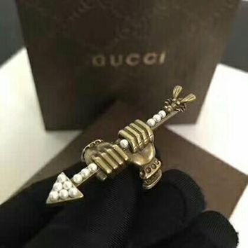 women Arrow Gucci Noble High 2018 New Serpenti ring AAAA diamond drill hollowed out Antique tidal bronze