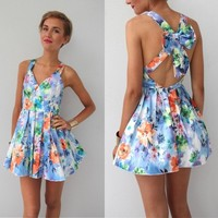 WATERCOLOUR FLORAL PRINTS BOW CUT OUT BACK BACKLESS BALLERINA DRESS 6 8 10 12