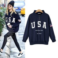 new European and American style fat MM printed loose long-sleeved fleece oversize hoodies