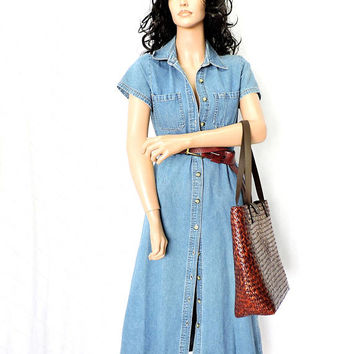 Long denim dress / size M 7 / 8 / 90s short sleeve denim dress / denim duster / long jean dress / boho grunge denim dress