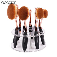 Oval Brush Set 10pcs professional oval makeup brushes with holder