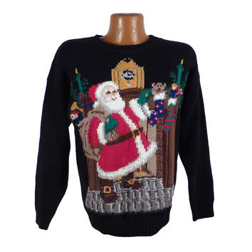 Ugly Christmas Sweater Vintage Tacky Holiday Party Santa Men's size M