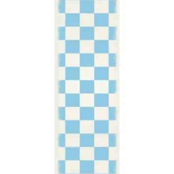 English Checker Design  Size Rug: 2ft x 6ft light blue & white colors