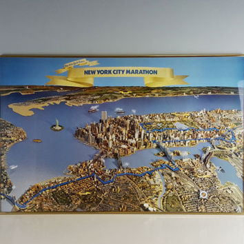 Large Vintage NYC Marathon Poster 1984 Framed New York City Arial Photo Twin Towers, New York City Marathon Souvenir, New York City Skyline