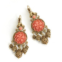 PRE-ORDER**Antique Me Please Coral & Filigree Pendant Earrings - Unique Vintage - Cocktail, Evening & Pinup Dresses