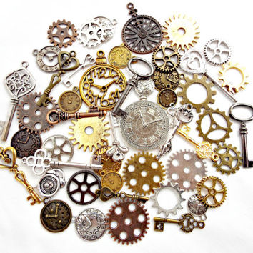 50 Steampunk Charms, Keys Clocks and Cogs, Metal Charms, Mixed Design Charms, Steampunk Pendants, Bulk Charms, Steampunk Jewelry, UK Seller