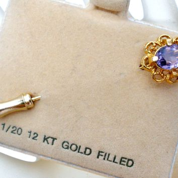 Amethyst 12K Gold Filled Stick Pin Vintage
