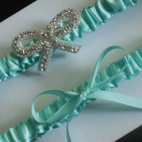 Lydia Tiffany Blue Satin Wedding Garter Set by LostPemberlyDesigns