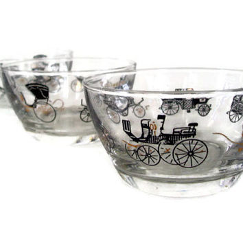 Vintage Mid Century Glass Libbey Horseless Carriage Desert or Snack Bowls Set of 3