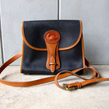 Authentic Vintage Dooney & Bourke Blue Brown Pebbled Leather Purse Cross Body Purse Satchel Bag 90s Preppy Leather Purse DES