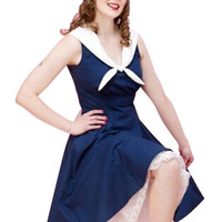 Blue Sleeveless Navy Collar Sheath A-line Mini Skater Dress