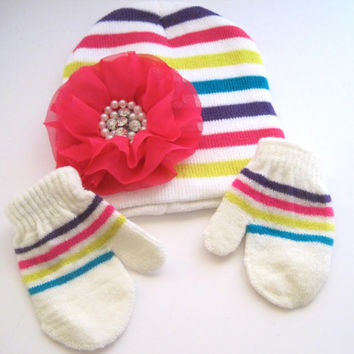 Knit Baby Beanie Mitten Set Baby Winter Hat with Beautiful Shocking Pink Chiffon Flowers with Pearl and Rhinestones