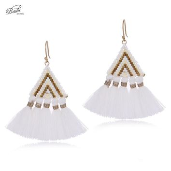 Badu Cotton Tassel Earring for Women Triangle Dangle Earrings Vintage Fashion Jewelry Gift for Girls Seed Beads Spring Summer