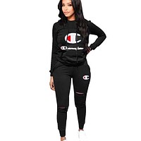 Champion Autumn And Winter Fashion New Letter Print Solid Color Long Sleeve Top And Pants Sports Leisure Two Piece Suit Black