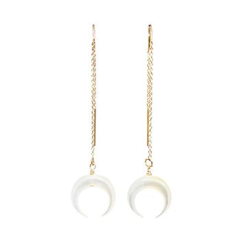 Mother of Pearl Double Horn Earrings