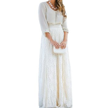 2018 Summer Women White Lace Hollow Layered Maxi High Waist A Line Bohemian Long Skirt Elegant Long Puffy Skirts