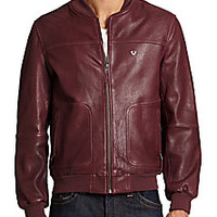 True Religion - Leather Baseball Jacket - Saks Fifth Avenue Mobile