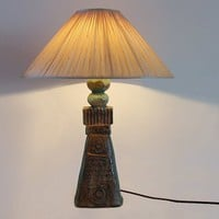 Vintage Tall Green Ceramic Floor Lamp Base - 70s
