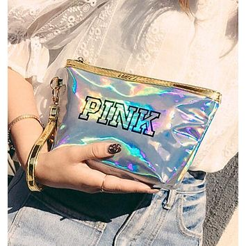 Victoria's Secret Pink New Popular Women Shopping Bag Laser Reflective Zero Wallet Handbag Cosmetic Bag(12-Color) Silvery I13250-1