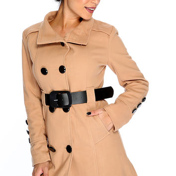 Camel Double Breasted Belted Trench Coat