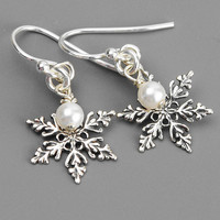 Sterling Silver Snowflake Earrings - Swarovski Earrings - Pearl Drop Earrings - Winter Wedding - Snowflake Jewelry - Christmas Earrings