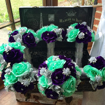 Wedding Bouquet, 17 Piece Silver Purple Mint Rose Bridal Bouquet Flower Set, Mint Wedding, Silver Bouquet, Mint Bouquet, Purple Bouquet