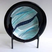 Black Fused Glass Bowl with Aqua and Gray Decor