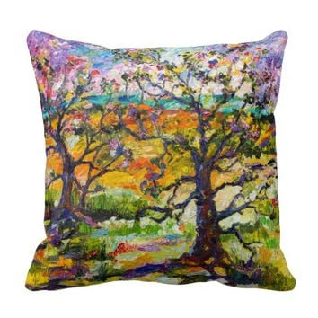 Spring In Provence Art Oil Painting Throw Pillow