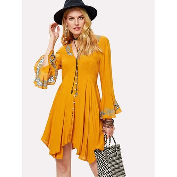 Eyelet Embroidered Button Up Hanky Hem Dress