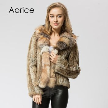 CR072-1 Knitted real rabbit fur coat overcoat jacket with fox collar Russian women's winter thick warm genuine fur coat