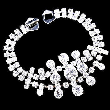 Wide Clear Rhinestone Bracelet Split Two Row with Large Centerpiece