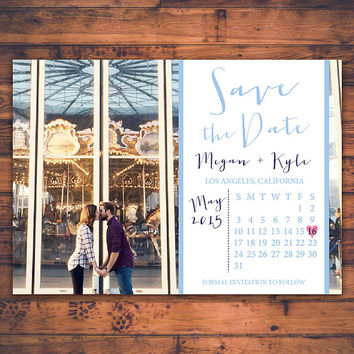 Personalize Photo Save The Date Wedding Calendar Invitation Card Handwritten Script Typography DIY Digital Print Printable Invite Card