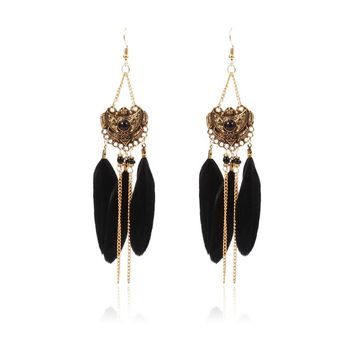 Chain Feather Drop Earrings for Women 2018 New Design Classic Earrings