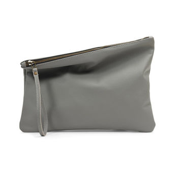 Grey leather clutch bag by Leah Lerner