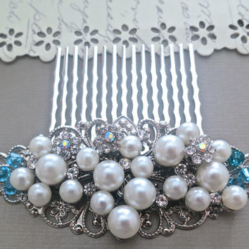 Bridal Hair Comb Pearl, Blue Wedding Hair Accessories, Vintage Style Bridal Comb, Pearl Rhinestone Crystal Comb