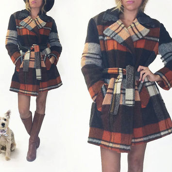 Vintage 1960's 1970's PLAID Wool Wrap Wilderness Lumberjack Coat || Orange Brown Cream Wool Jacket || Size Medium Large