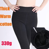 High quality 2017 cotton Winter Leggings Women's Warm Leggings High Waist Thick Velvet Legging Solid black Leggings Women