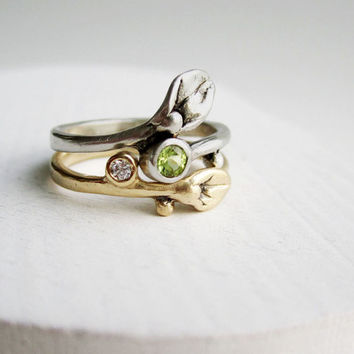Gold Engagement Diamond Ring 14K White & Yellow Gold with Peridot, MADE TO ORDER